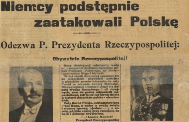 Fragment pierwszej strony Kuriera Warszawskiego