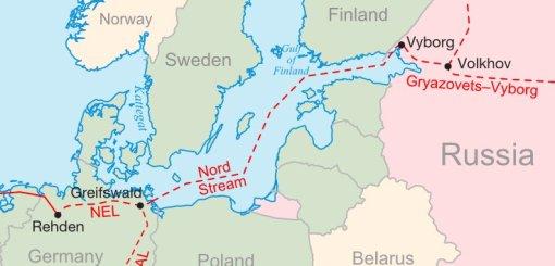 Schematyczna trasa Gazociągu Północnego