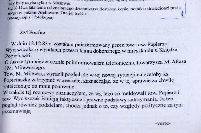 Jeden z dokumentów znalezionych w domu szefa MSW z lat 80. gen. Czesława Kiszczaka/fot. PAP/Reprodukcja