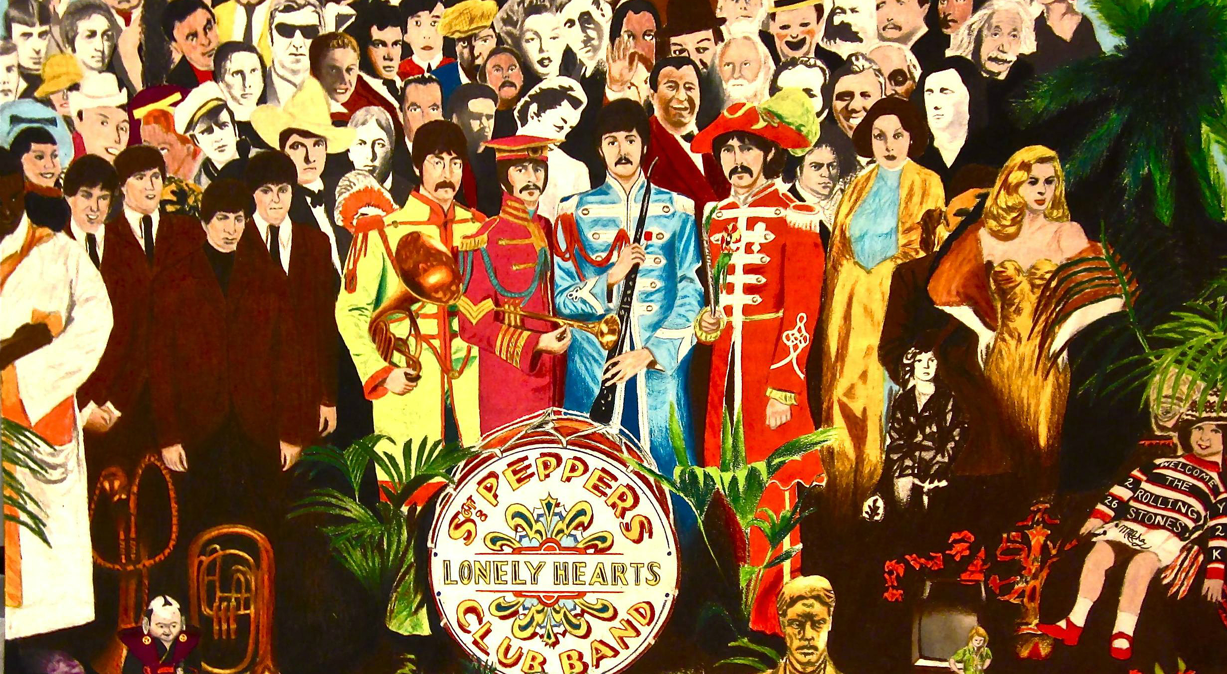 Fragment okładki słynnej płyty The Beatles pt. Sgt. Peppers Lonely Hearts Club Band