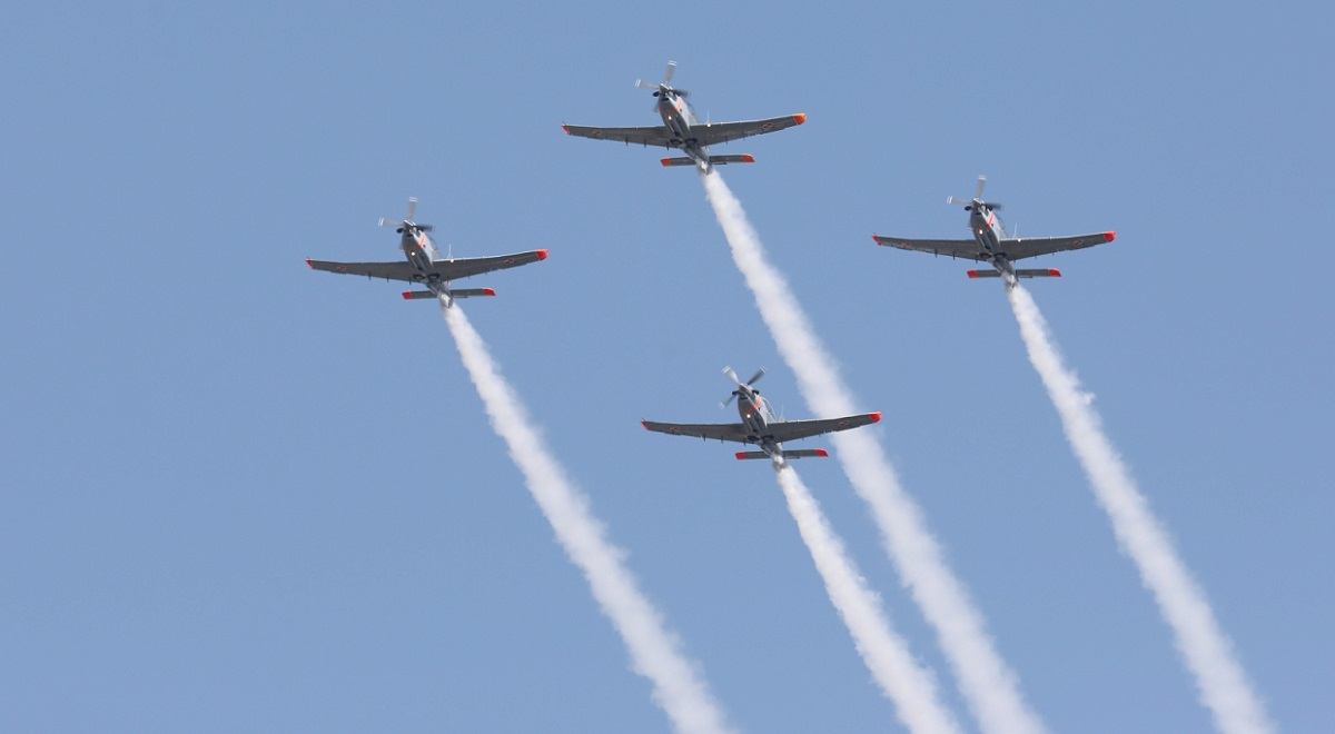More than 60 airplanes and helicopters roared overhead in a flypast. Photo: PAP/Andrzej Grygiel