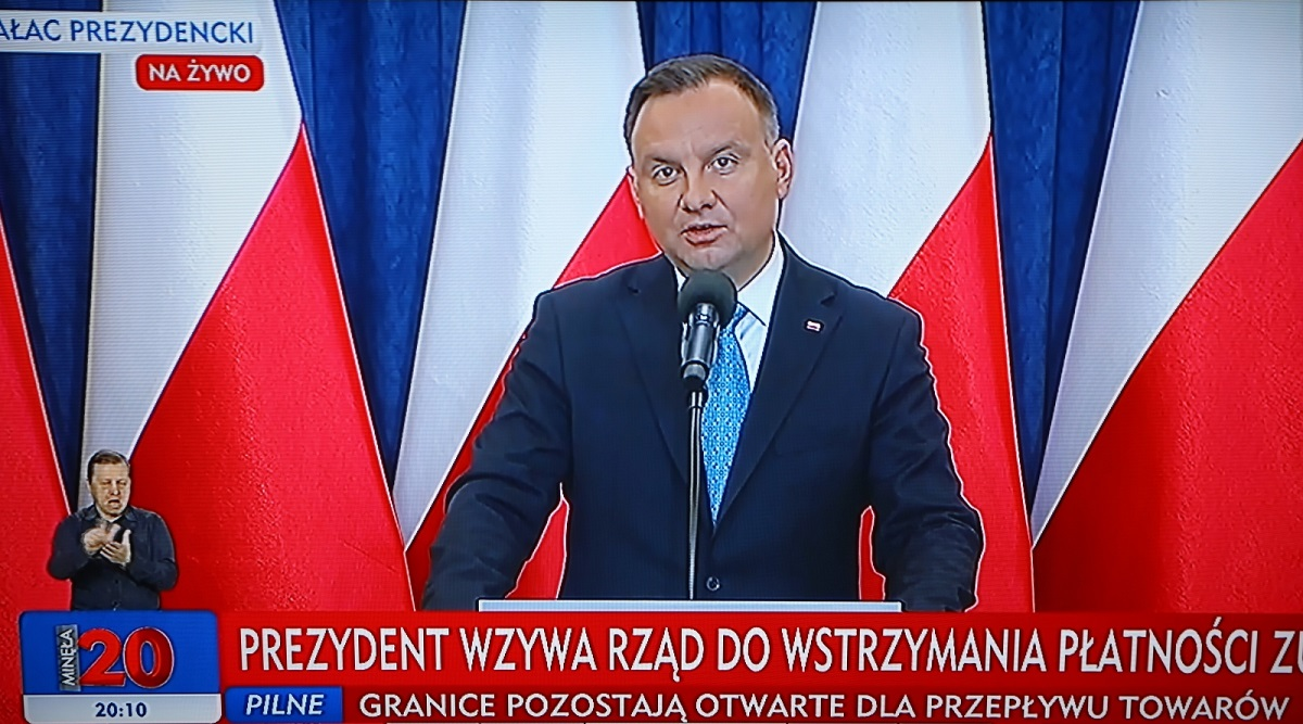 President Andrzej Duda speaks during a televised press conference