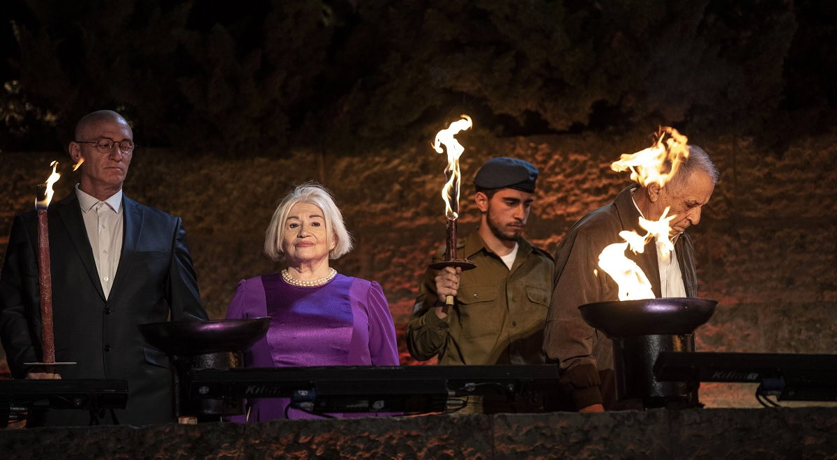 Halina Friedman (2-L) during Holocaust Remembrance Day opening ceremony at Yad Vashem in Jerusalem, 07 April 2021.