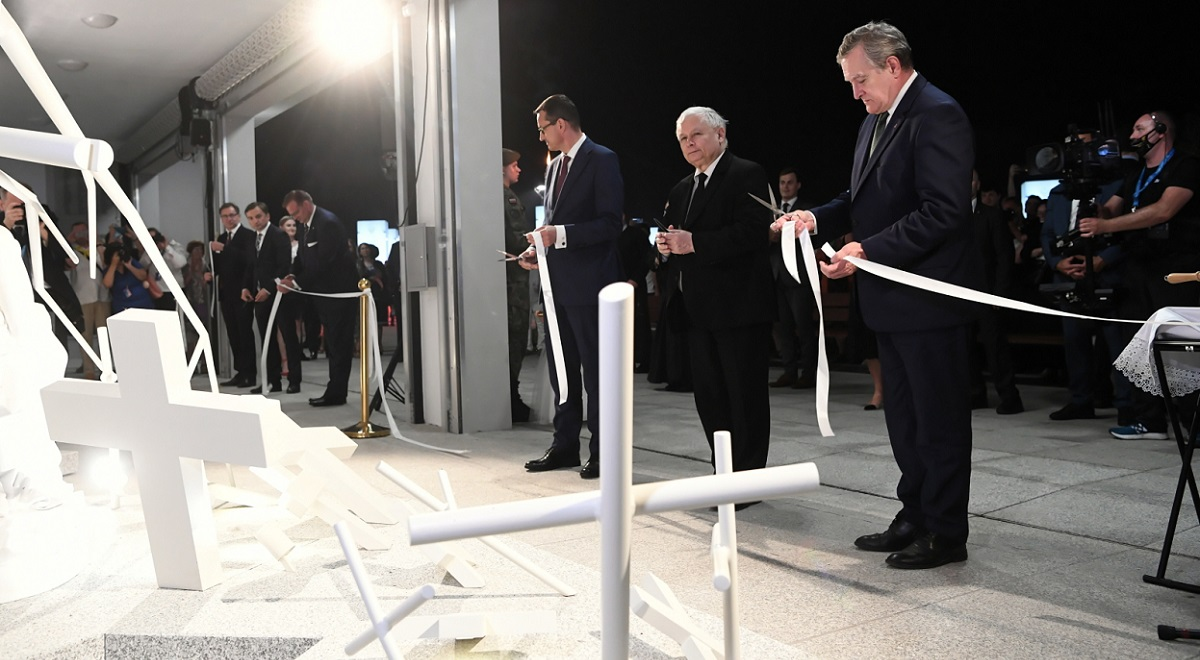 Polish Prime Minister Mateusz Morawiecki, conservative leader Jarosław Kaczyński, and Deputy Prime Minister Piotr Gliński attend a ceremony to open the National Remembrance Park in the north-central city of Toruń on Saturday, August 8, 2020.