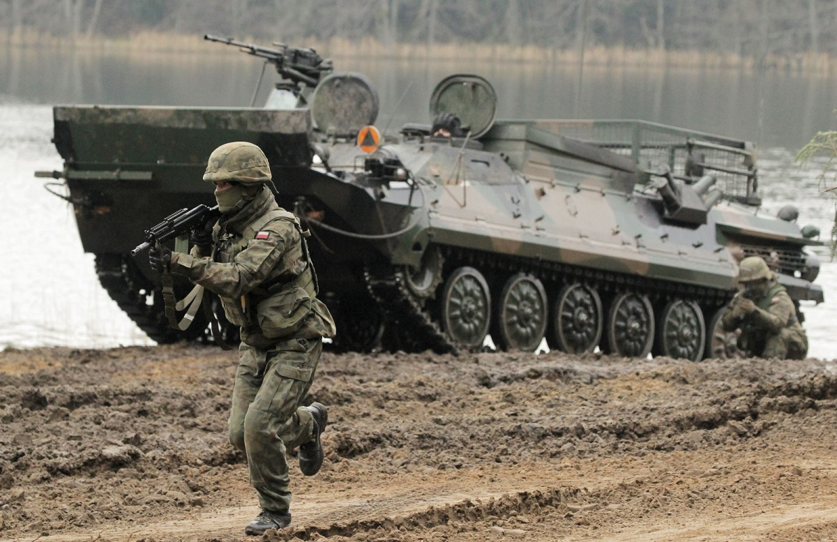 Polish soldiers in joint drills with NATO allies at a training site near the northeastern town of Orzysz on Wednesday, Nov. 25, 2020.