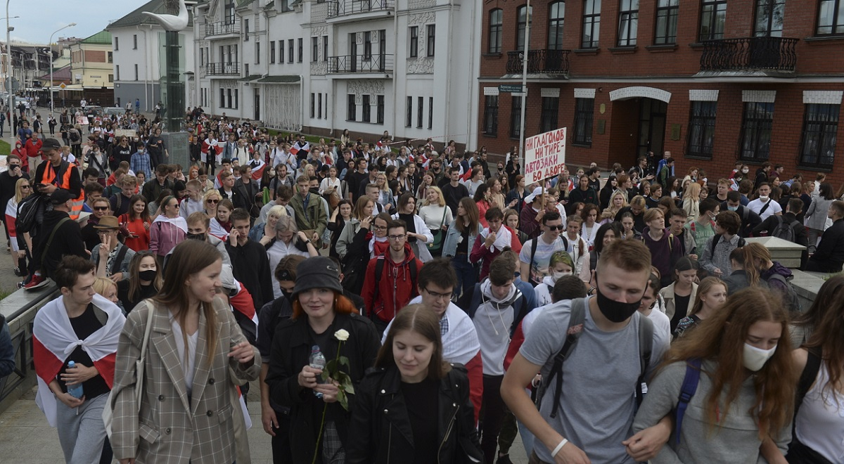 Belarusian students during a protest in the capital Minsk on Tuesday, September 1, 2020.