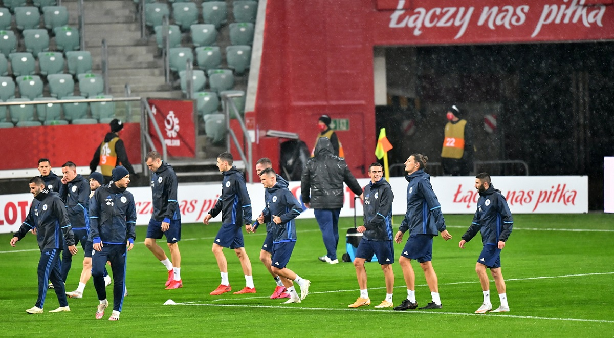 Poland players in training ahead of the game against Bosnia-and-Herzegovina, at the Municipal Stadium in the southwestern Polish city of Wrocław on Tuesday, Oct. 13, 2020.