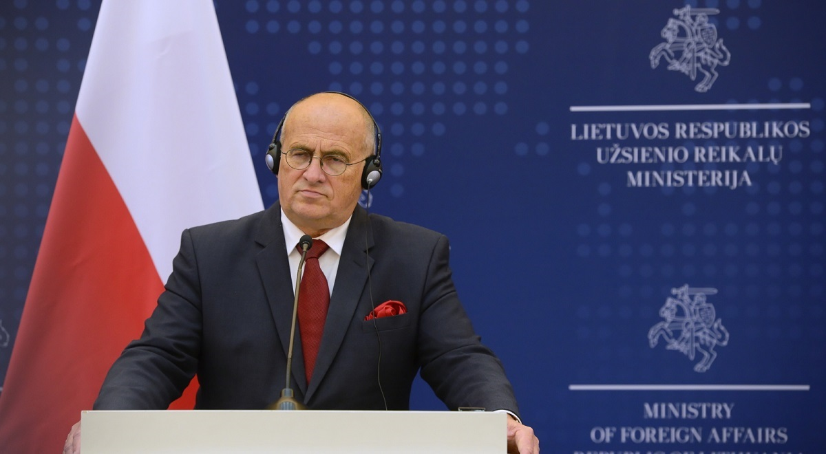 Polish Foreign Minister Zbigniew Rau attends a joint news conference with his Lithuanian counterpart Gabrielius Landsbergis in Vilnius on Monday.