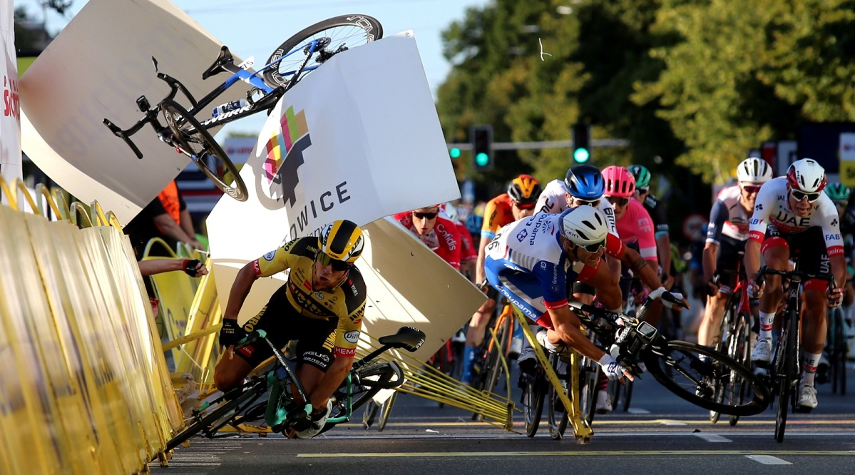 The moment of the finish-line crash during the Tour de Pologne on Wednesday.