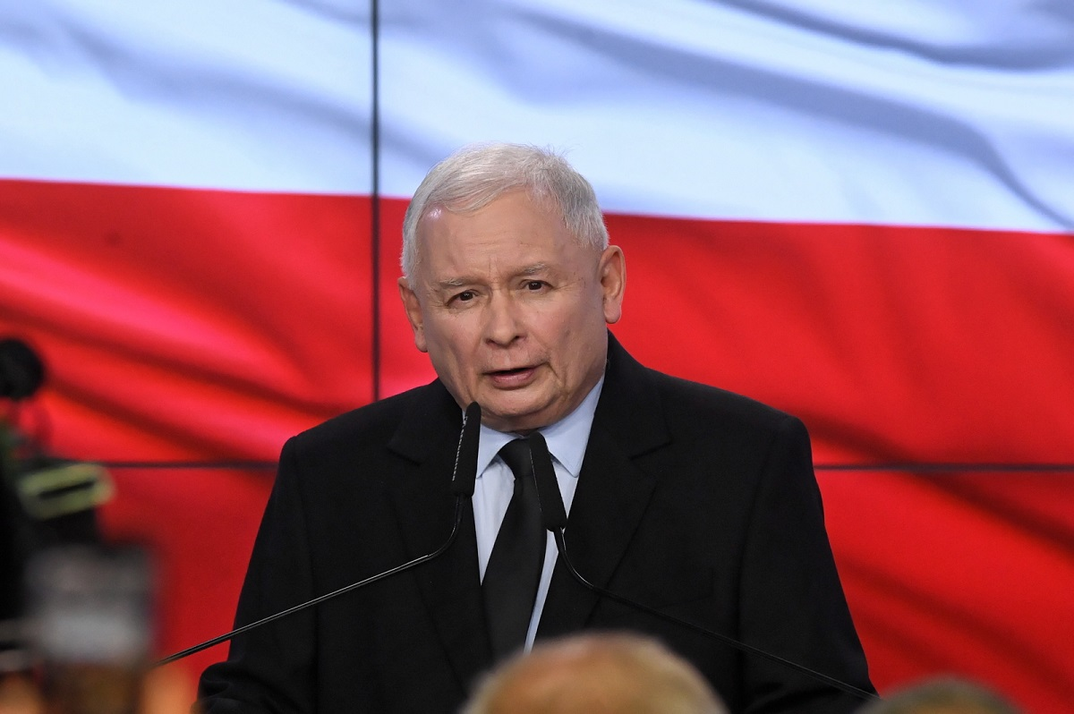 Jarosław Kaczyński speaks at his partys election campaign HQ in Warsaw on Sunday.