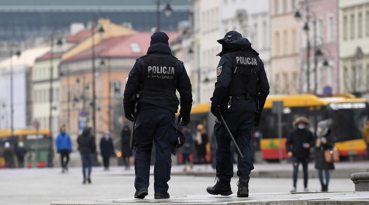 Police on patrol in central Warsaw.