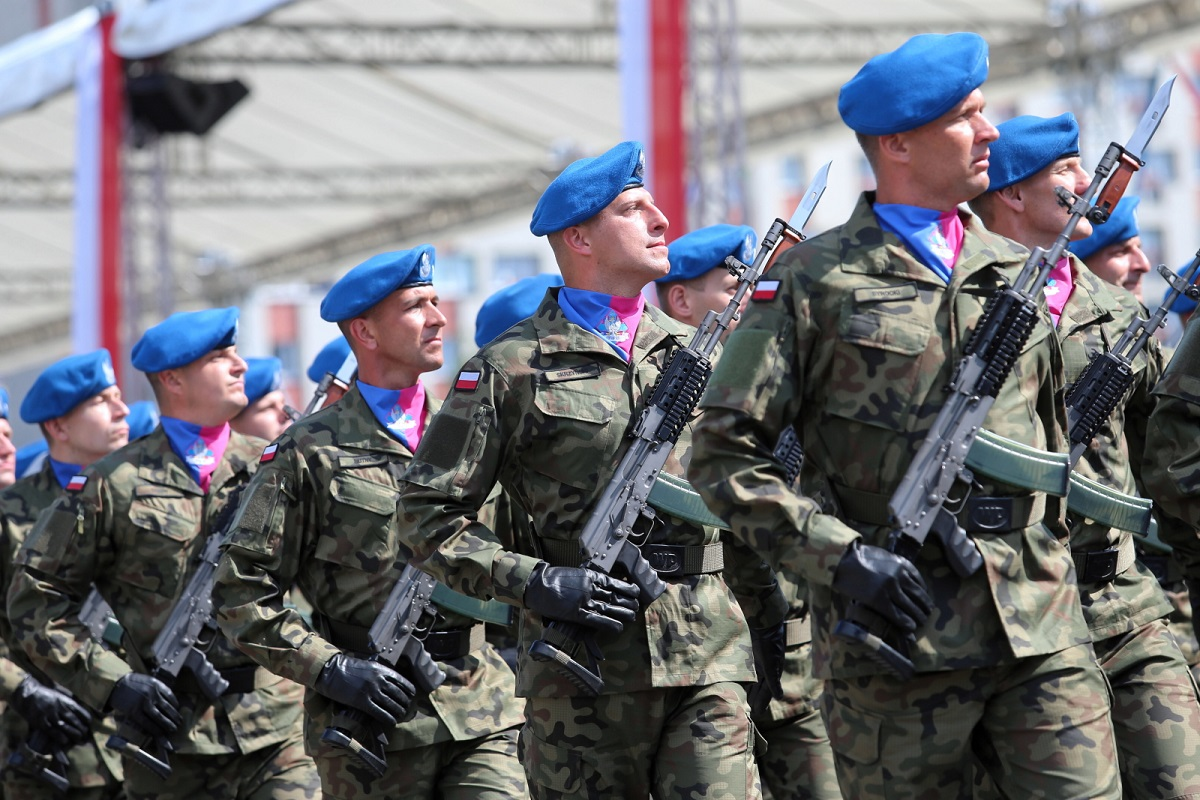 Troops on parade in the southern Polish city of Katowice on Thursday.
