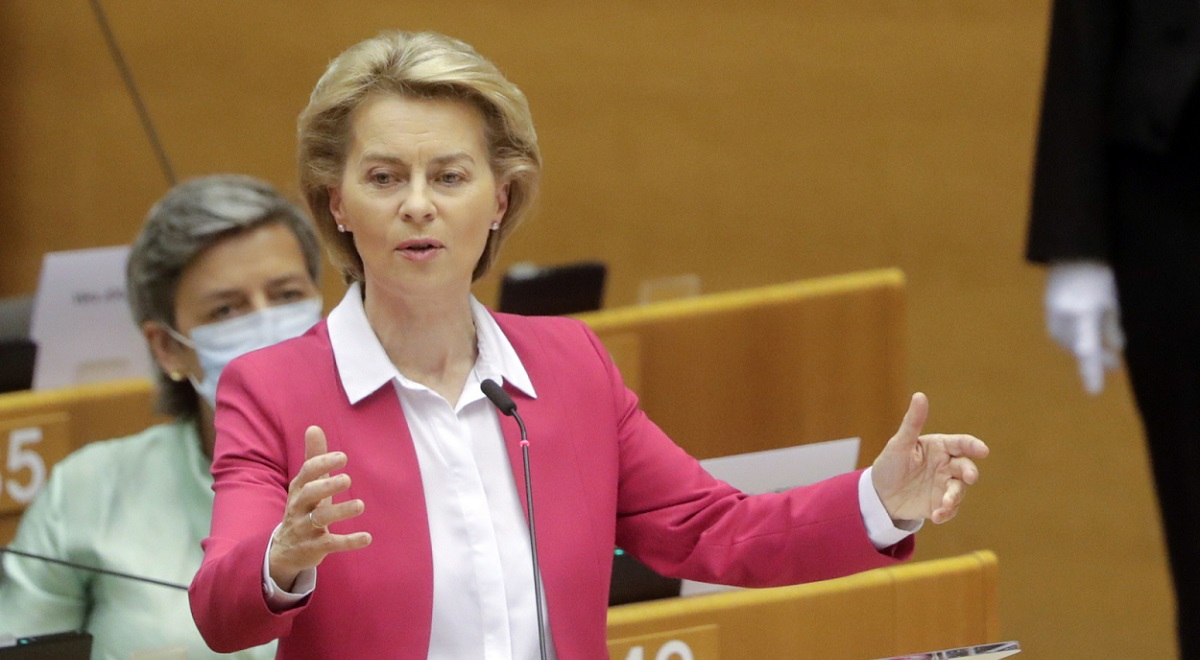 European Commission President Ursula von Der Leyen speaks during a session of the European Parliament in Brussels, Belgium, on Wednesday.