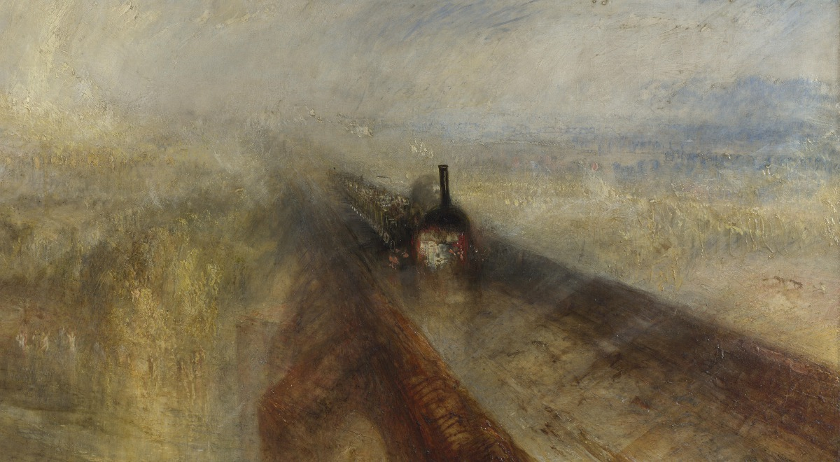 Fragm. obrazu Deszcz, para, szybkość (Rain, Steam and Speed - The Great Western Railway) Williama Turnera. Obecnie w zbiorach National Gallery w Londynie
