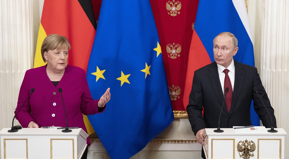 German Chancellor Angela Merkel and Russian President Vladimir Putin hold a joint press conference after talks in Moscow in January 2020.