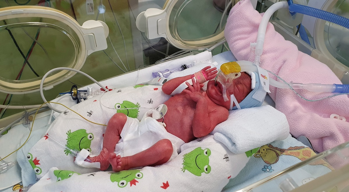 One of the newborns at a maternity hospital in Poznań, western Poland.