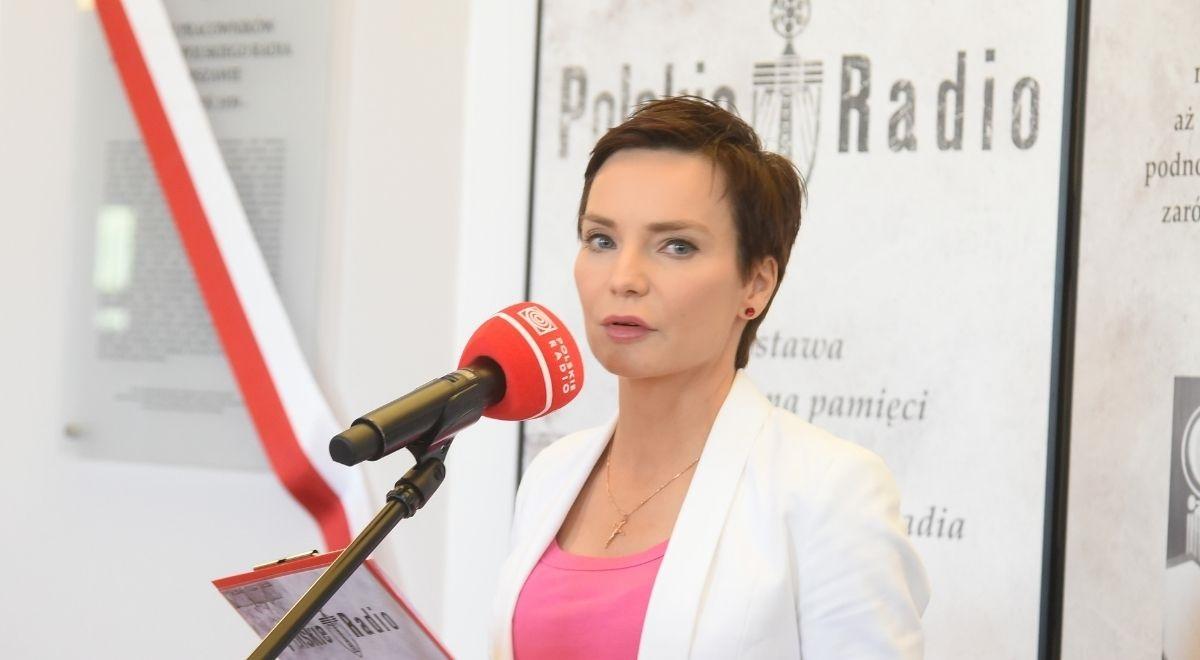 Polish Radio CEO Agnieszka Kamińska speaks at the unveiling ceremony on Tuesday.