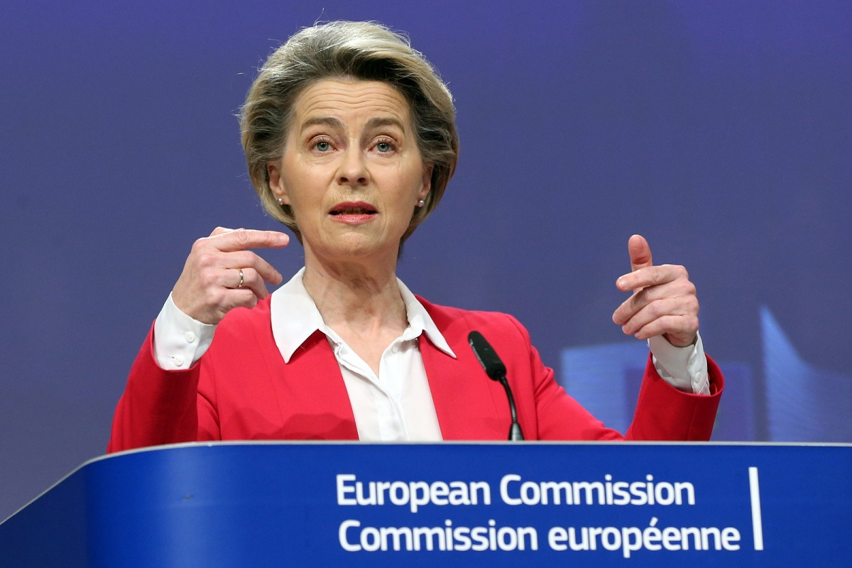 European Commission President Ursula von der Leyen briefs the media on the EUs vaccine strategy in Brussels, Belgium, on Friday, Jan. 8, 2021.