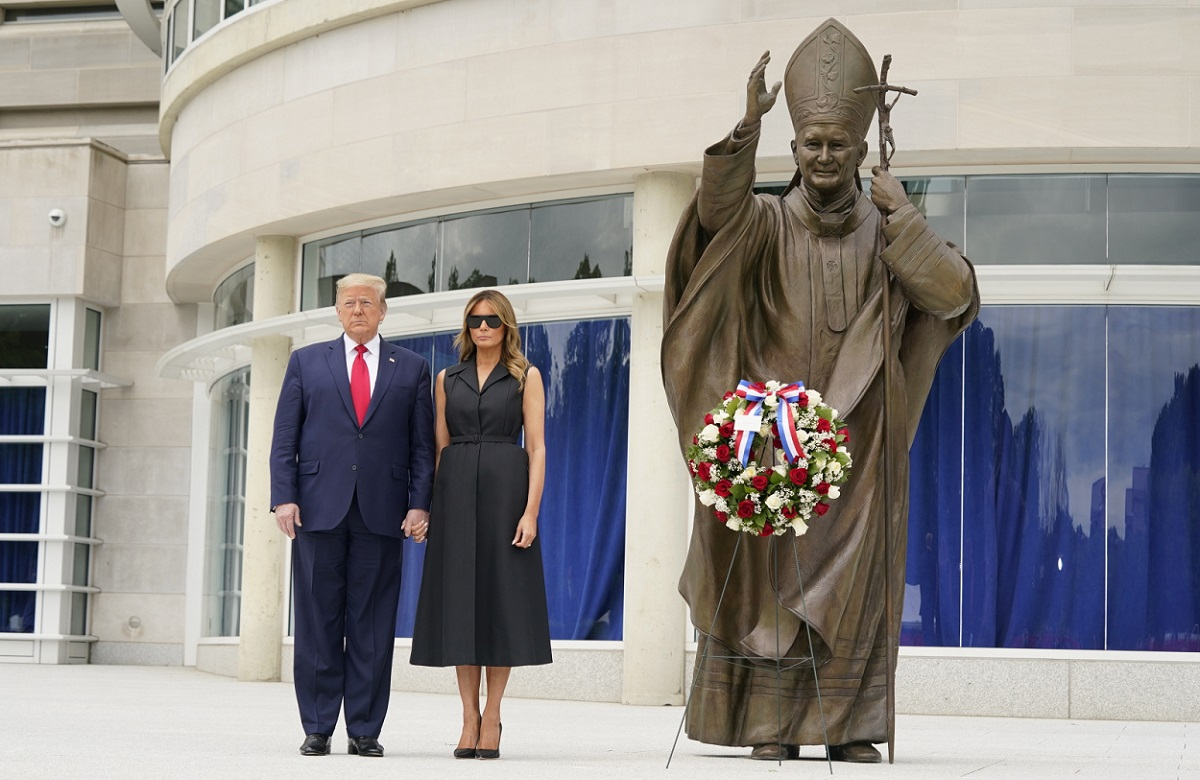 US President Donald Trump and First Lady Melania Trump visit the Saint John Paul II National Shrine in Washington on Tuesday.