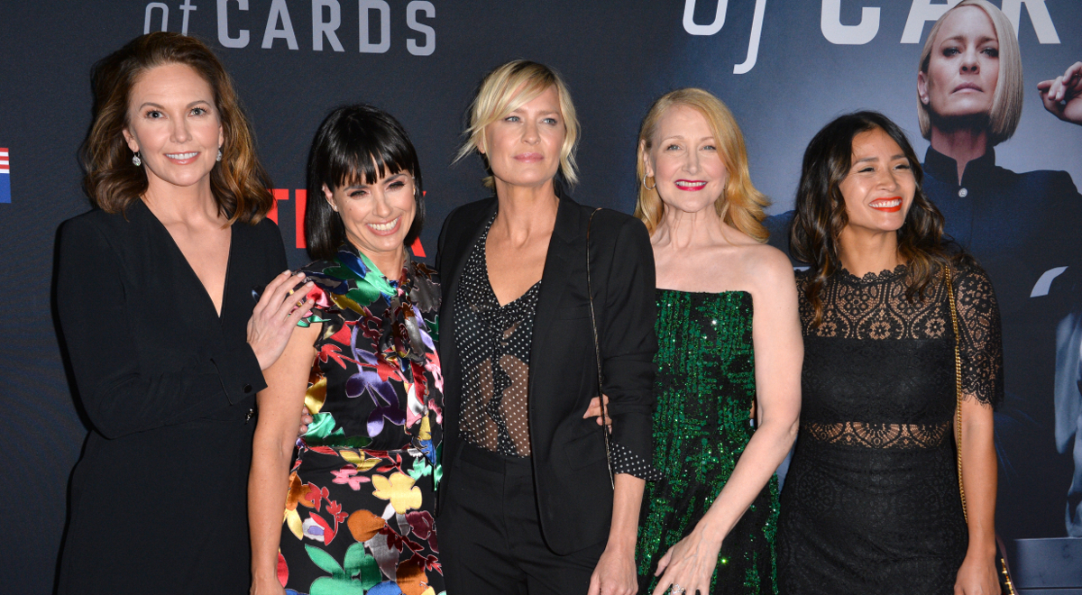 Diane Lane, Constance Zimmer, Robin Wright, Patricia Clarkson i Nini Le Huynh na premierze 6. sezonu serialu House of Cards w Los Angeles