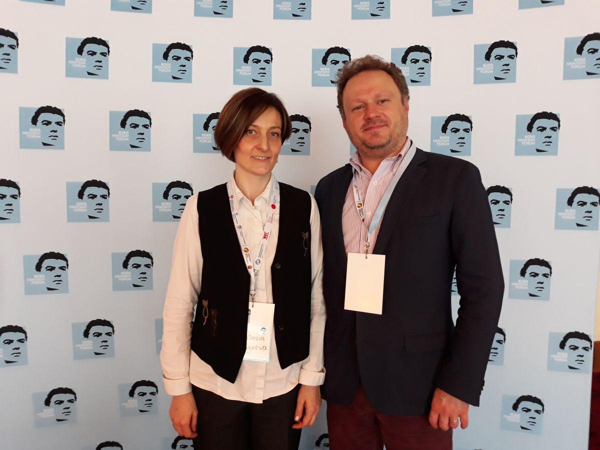 Анастасия Сергеева и Роман Захаров на Форуме Бориса Немцова в Варшаве