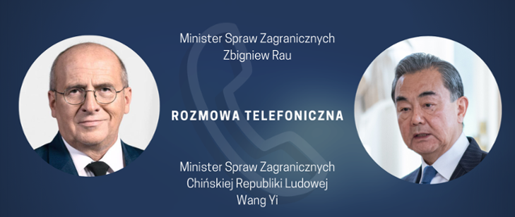 Polish FM Zbigniew Rau (L) and Chinese FM Wang Yi