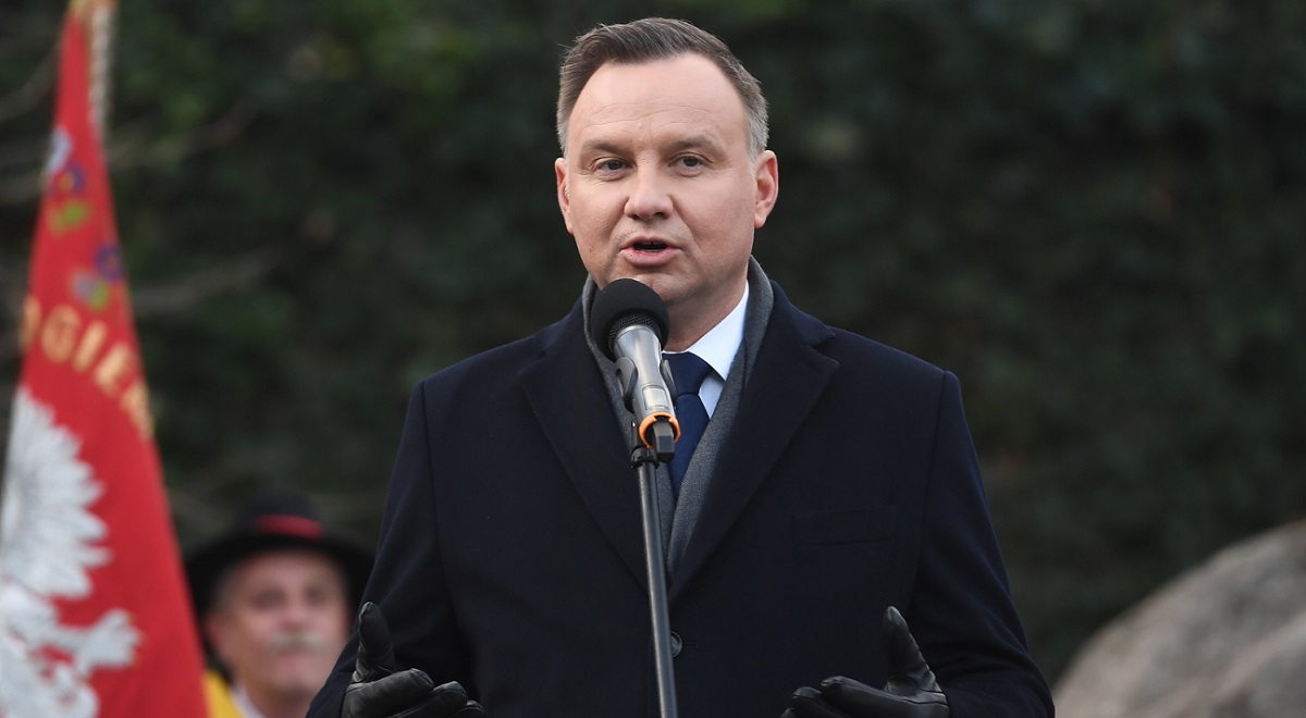 President Andrzej Duda speaks during a visit to Polands Baltic coast on Monday.