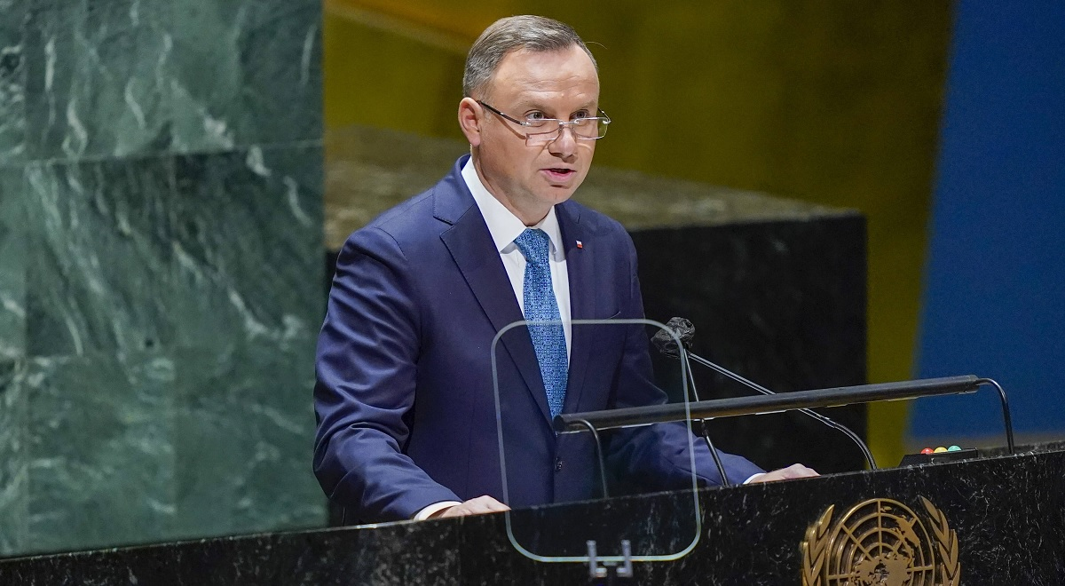 Polands Duda at the 76th Session of the United Nations General Assembly in New York.