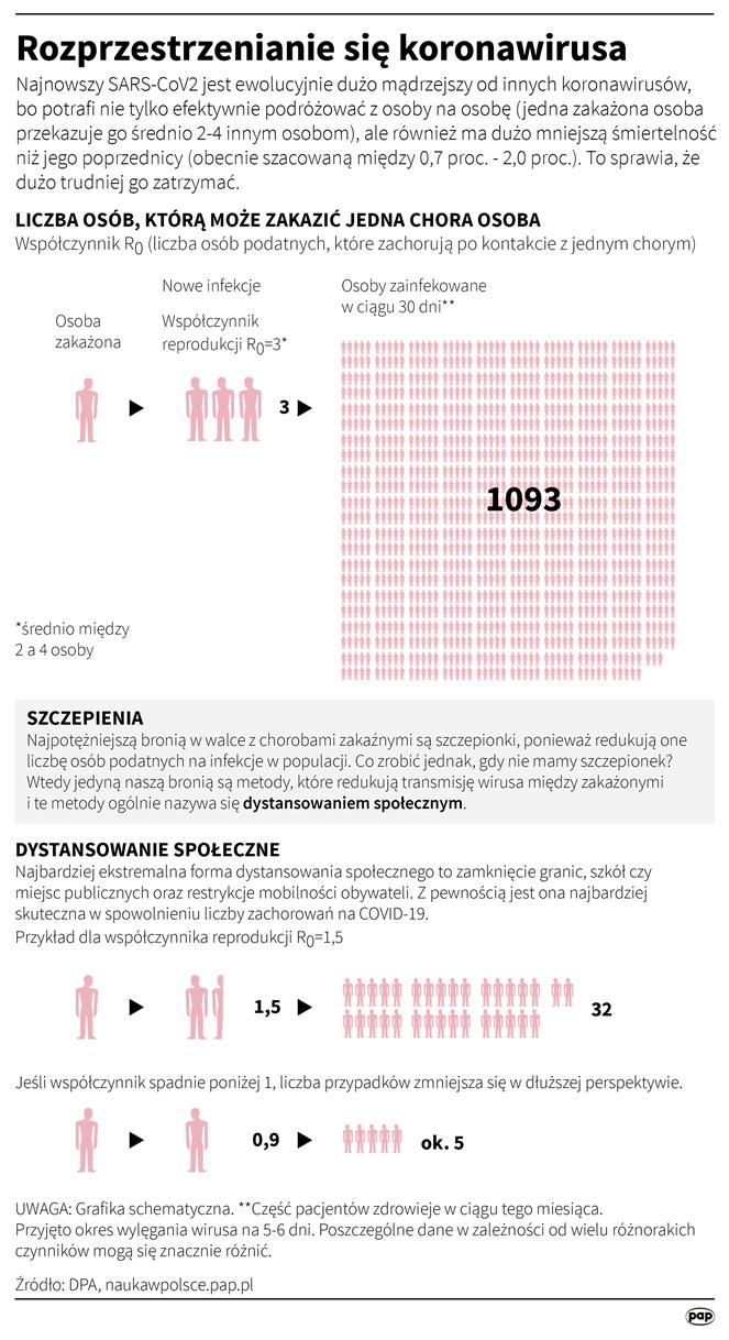 Rozprzestrzenianie się koronawirusa (opr. Adam Ziemienowicz)