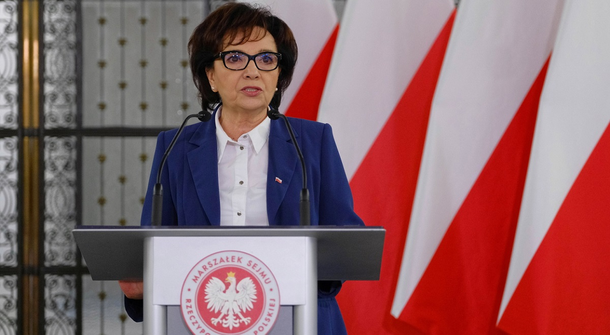 Lower-house Speaker Elżbieta Witek announces a new date for Polands presidential election, in Warsaw on Wednesday.