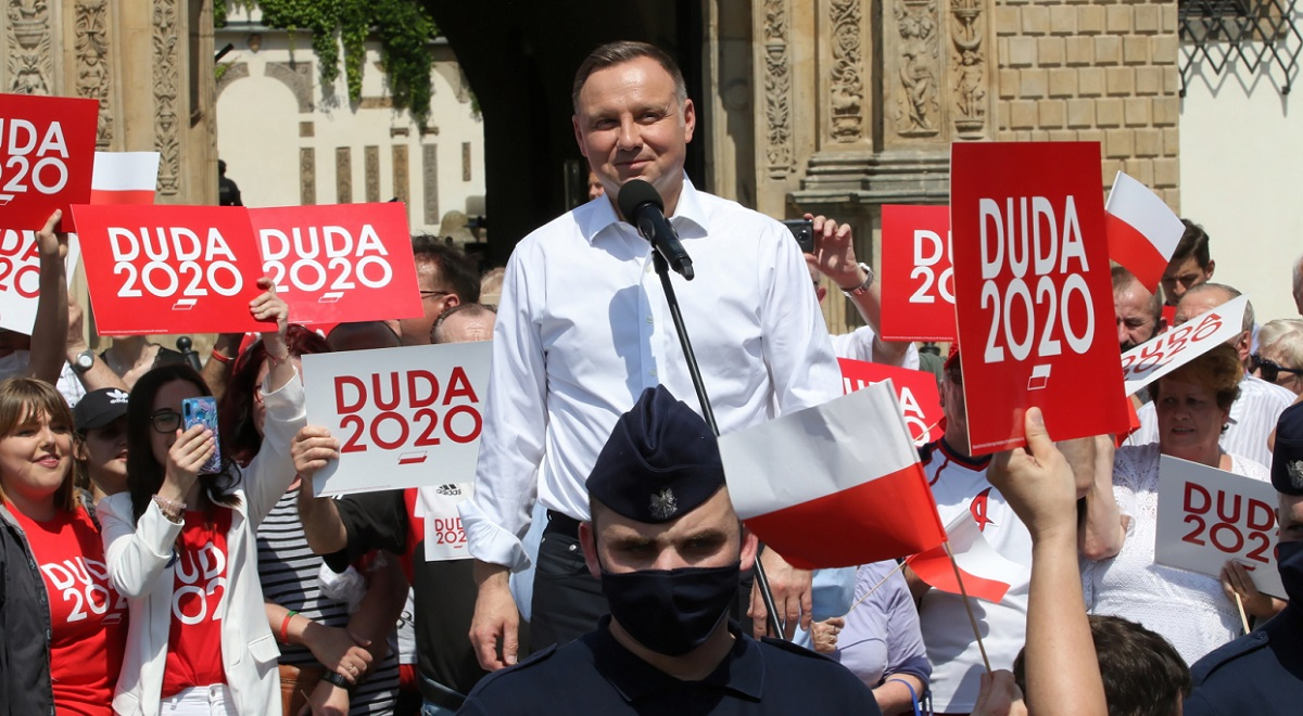 President Andrzej Duda speaks at a campaign rally in Brzeg, southwestern Poland, on Saturday.