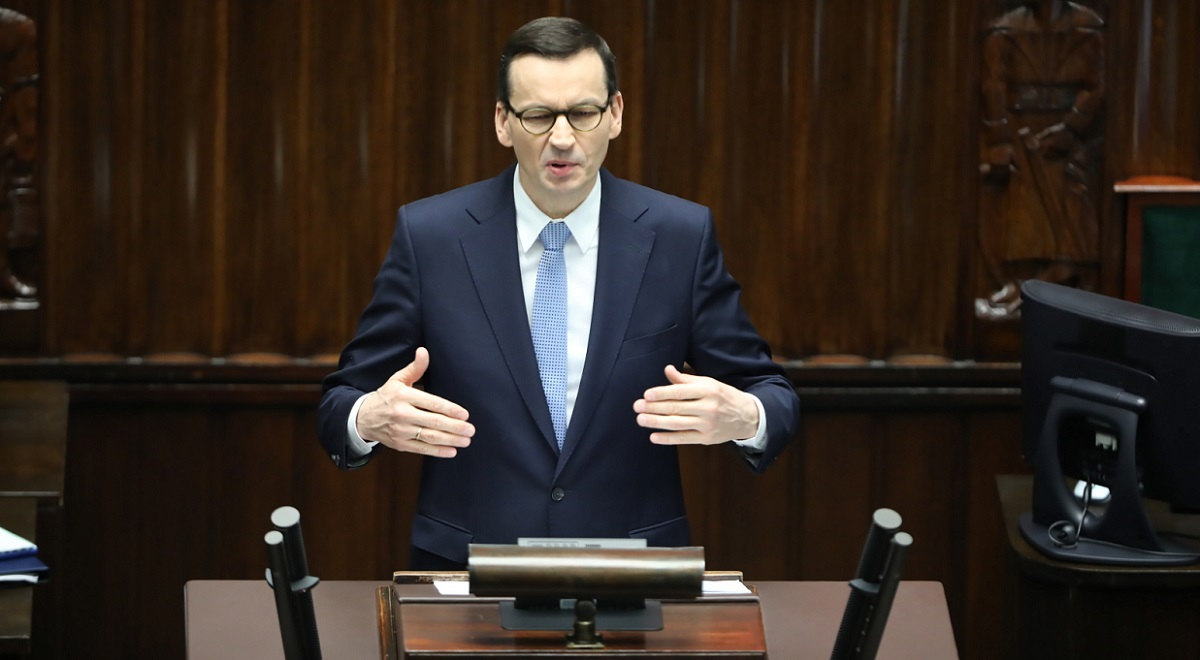 Polish Prime Minister Mateusz Morawiecki speaks in the Sejm, the lower house of parliament, in Warsaw on Monday.