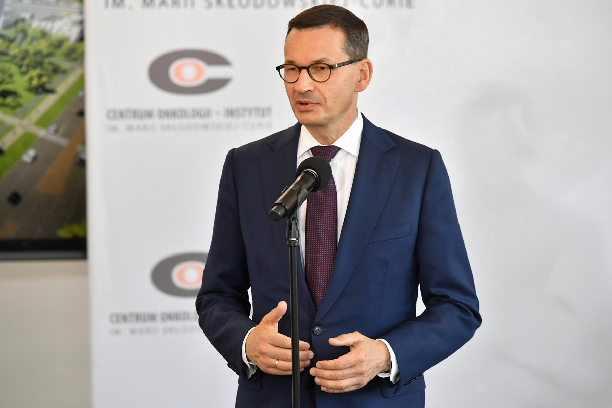 Prime Minister Mateusz Morawiecki speaks at the signing of an agreement to renovate and expand the Marie Skłodowska-Curie Oncology Centre in Warsaw on Tuesday.