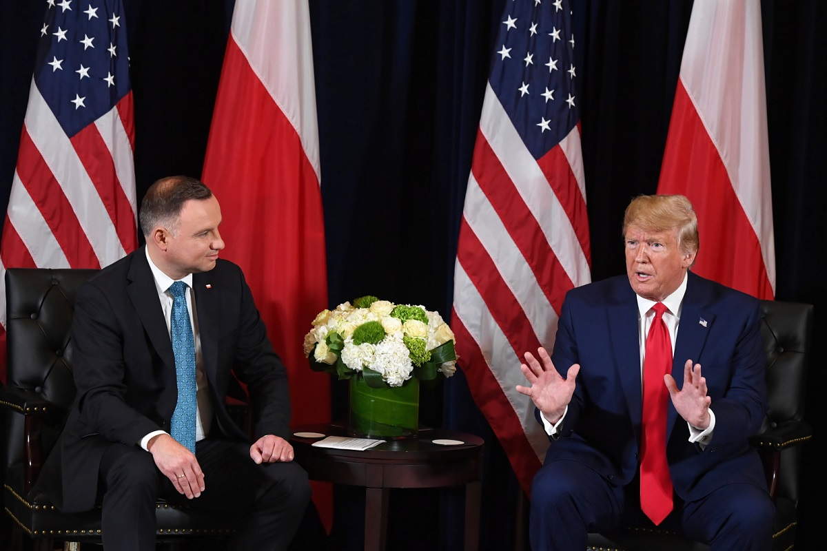 Polish President Andrzej Duda and US President Donald Trump brief reporters during a bilateral meeting in New York on Monday.