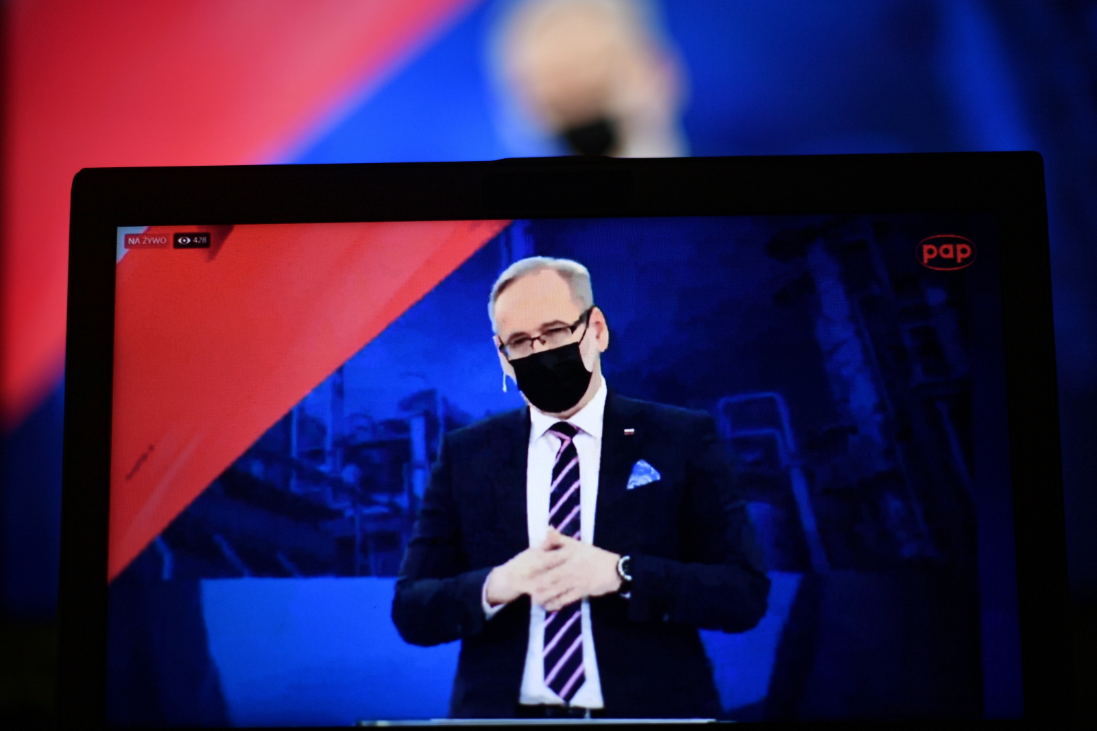 Polish health minister Adam Niedzielski during a debate on the New Deal, a set of post-pandemic measures announced by the governing Law and Justice party, held in the southeastern city of Chełm, May 21, 2021.