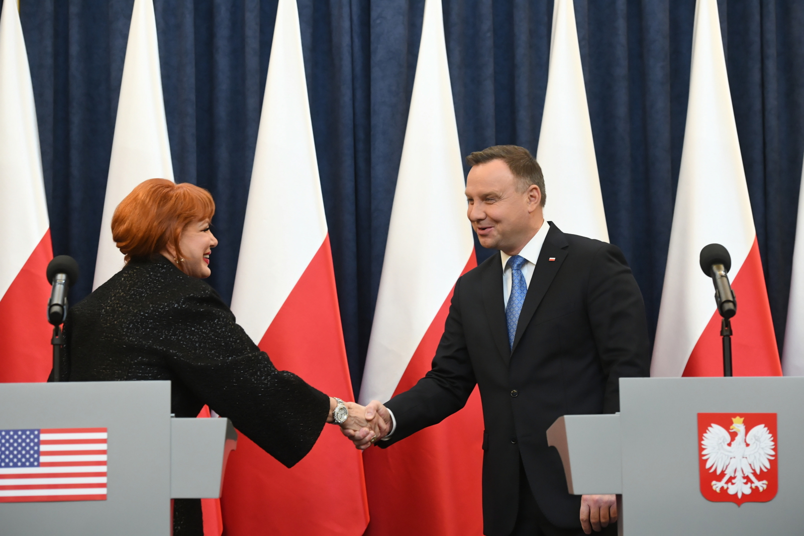 The US ambassador to Poland, Georgette Mosbacher, at a joint press conference with Polish President Andrzej Duda in Warsaw on Wednesday