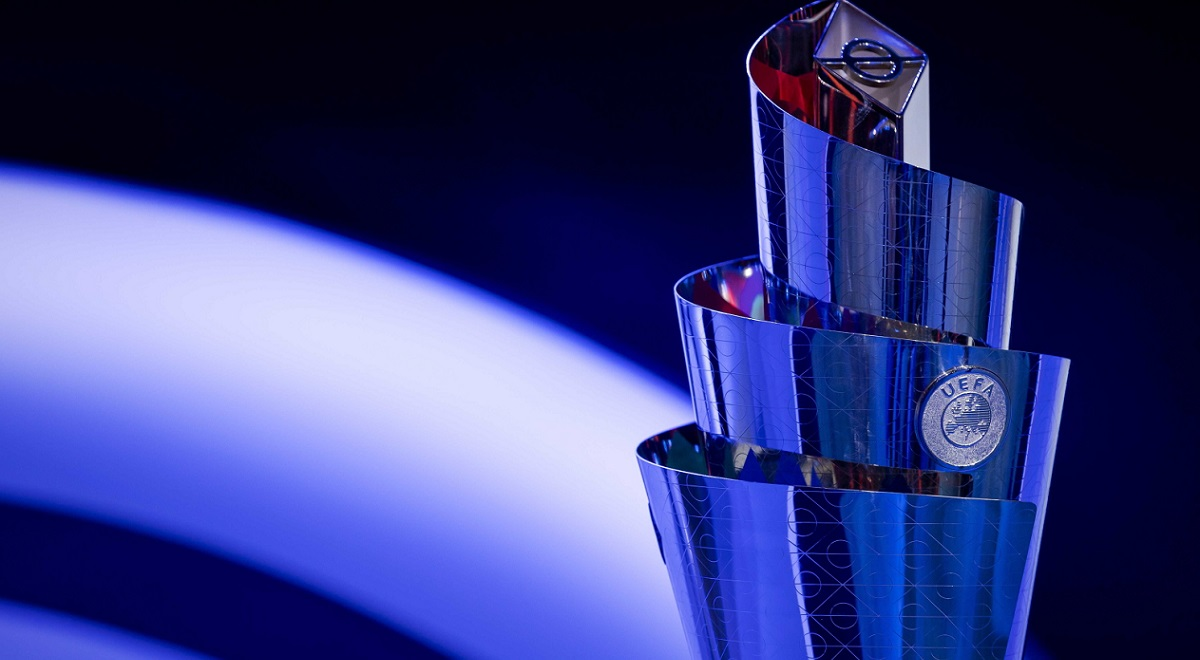 The UEFA Nations League trophy on display during the group-stage draw in Amsterdam, the Netherlands, on Tuesday.