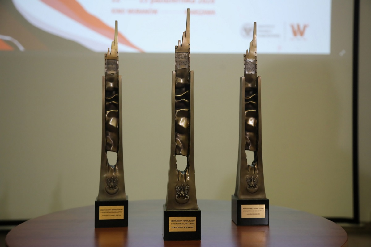 Echoes of Katyn: Festival awards on display during a news conference promoting the event in Warsaw on Wednesday, Oct. 21, 2020.