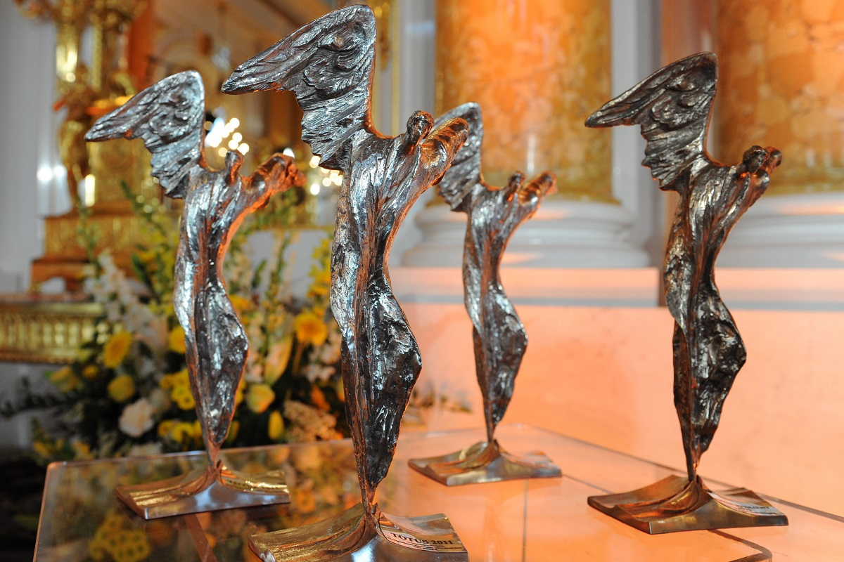 Totus Tuus statuettes on display during a previous awards ceremony in Warsaw.