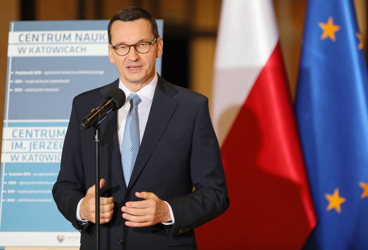 Polands Prime Minister Mateusz Morawiecki gives a news conference in the southern city of Katowice on Sunday.
