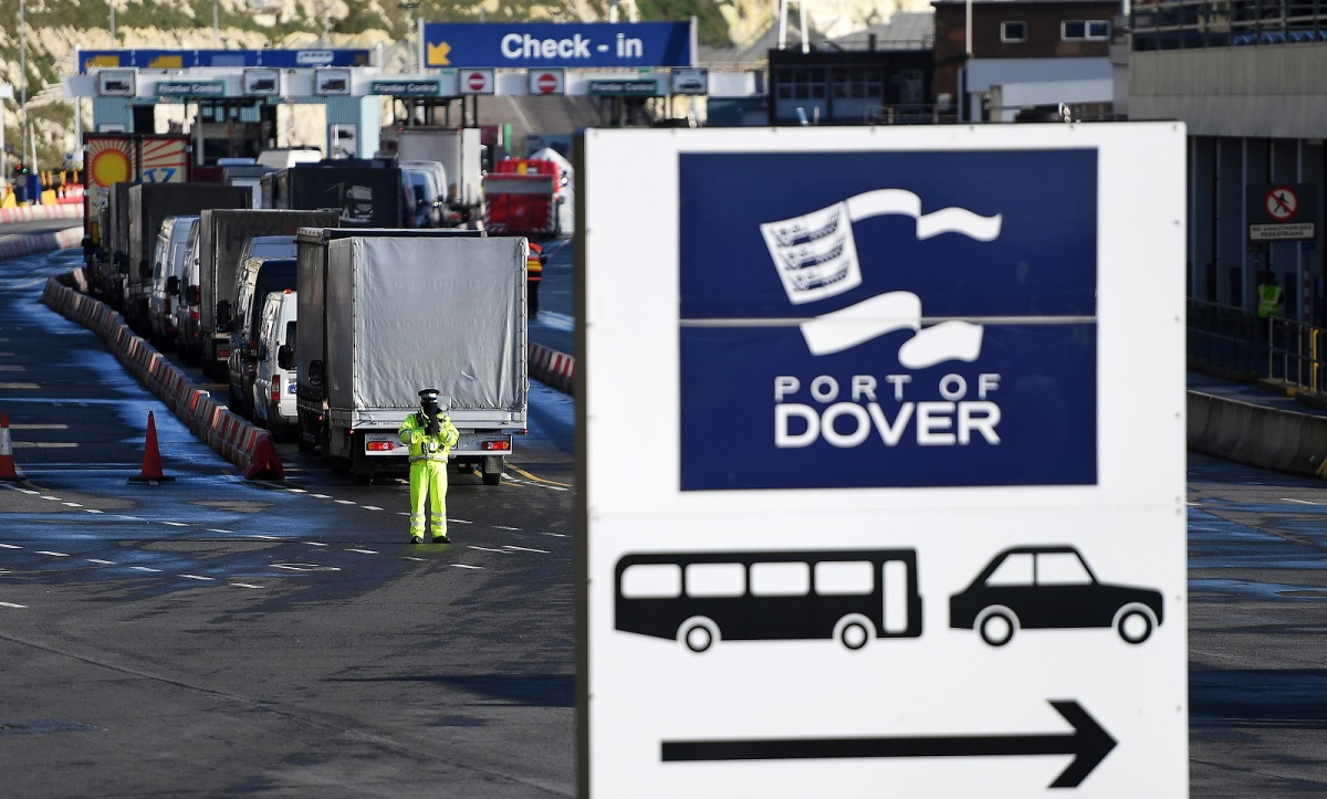 Vehicles make their way through the port of Dover in southern England on Christmas Eve, Dec. 24, 2020.