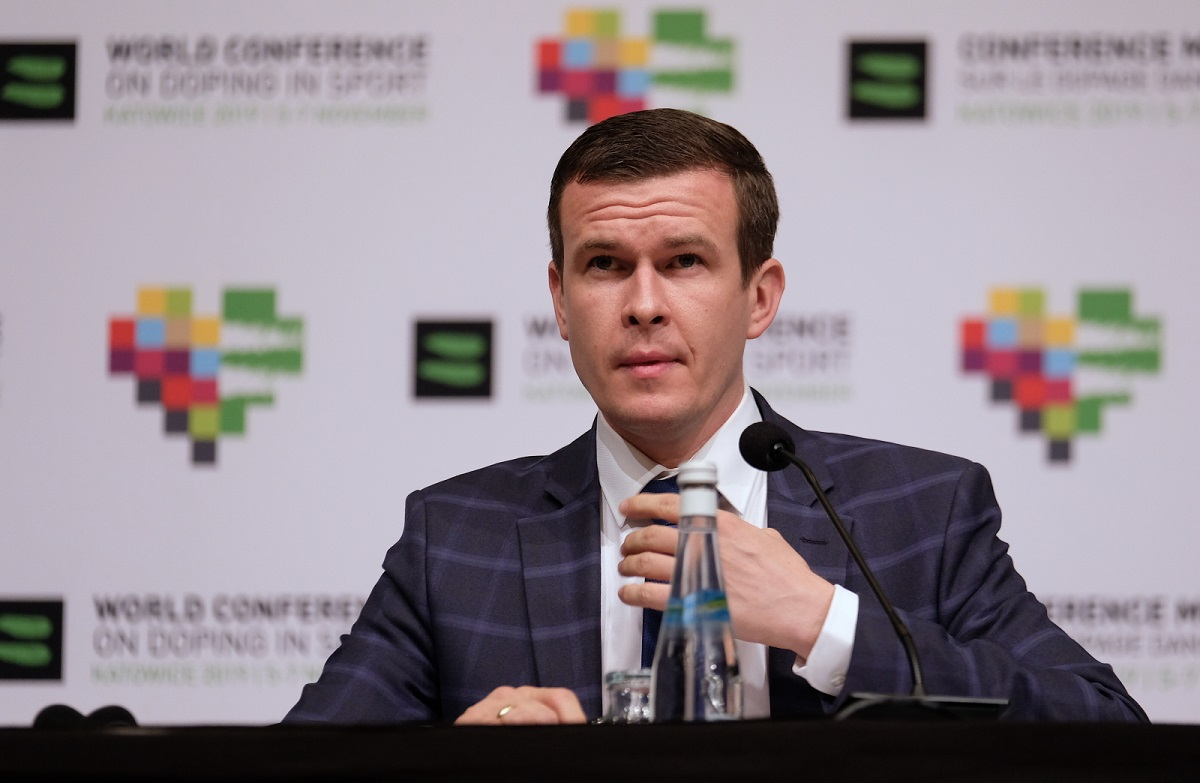 WADA President-elect Witold Bańka at a conference in Katowice, southern Poland.