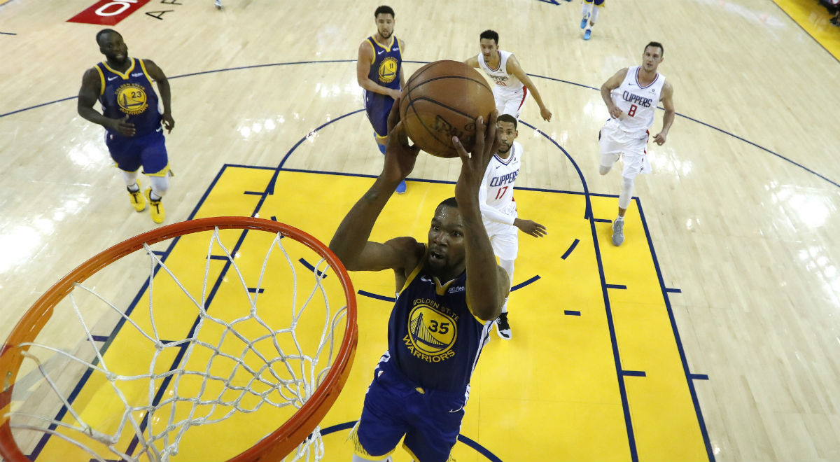Kevin Durant z Golden State Warriors w trakcie meczu ligi NBA