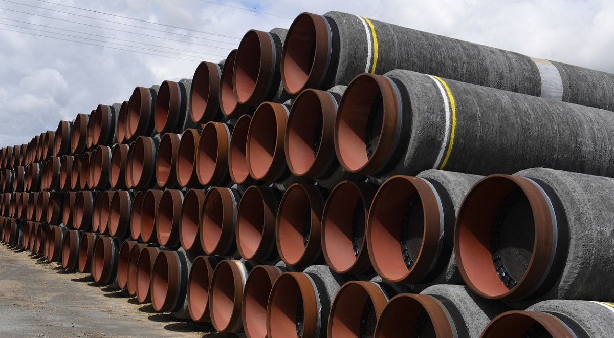 Pipes for the construction of the Nord Stream 2 Baltic Sea gas pipeline are stored in the German port of Mukran last month.