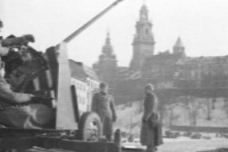 Artileria antiaeriană sovietică.  Cracovia februarie 1945