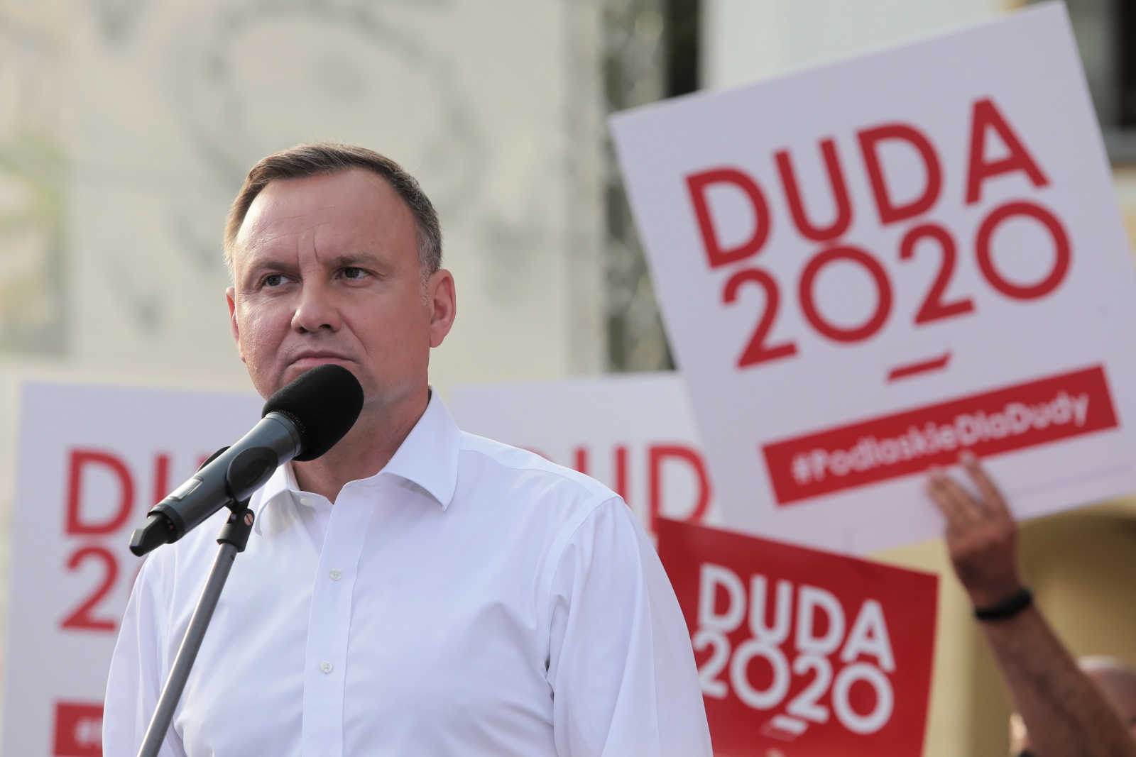 Polish President Andrzej Duda speaking to his supporters at a rally in Białystok, the Podlaskie province, eastern Poland, on Saturday, June 20.