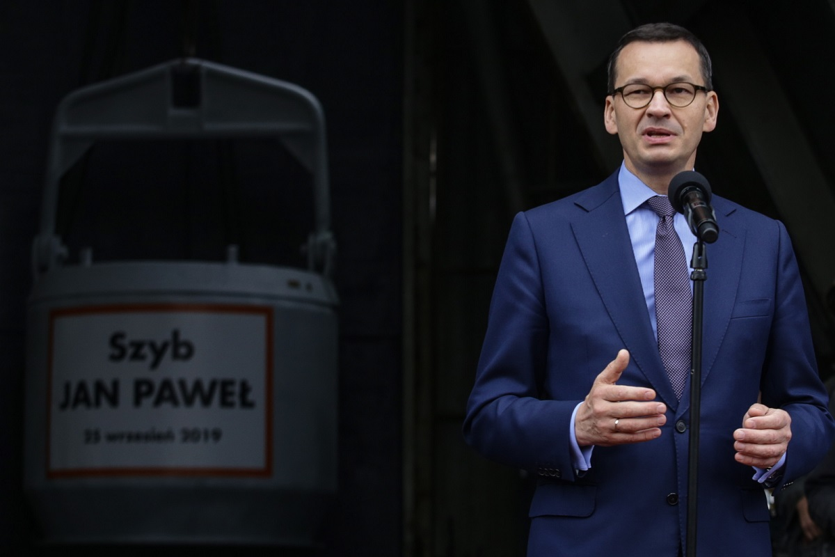 Prime Minister Mateusz Morawiecki speaks during a visit to the Bzie-Dębina coal mine under construction in southern Poland on Wednesday.