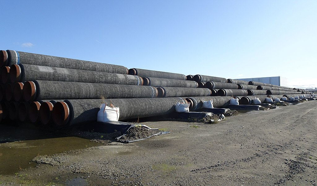 Pipes for the Nord Stream 2 gas link at the Port Mukran, Germany.