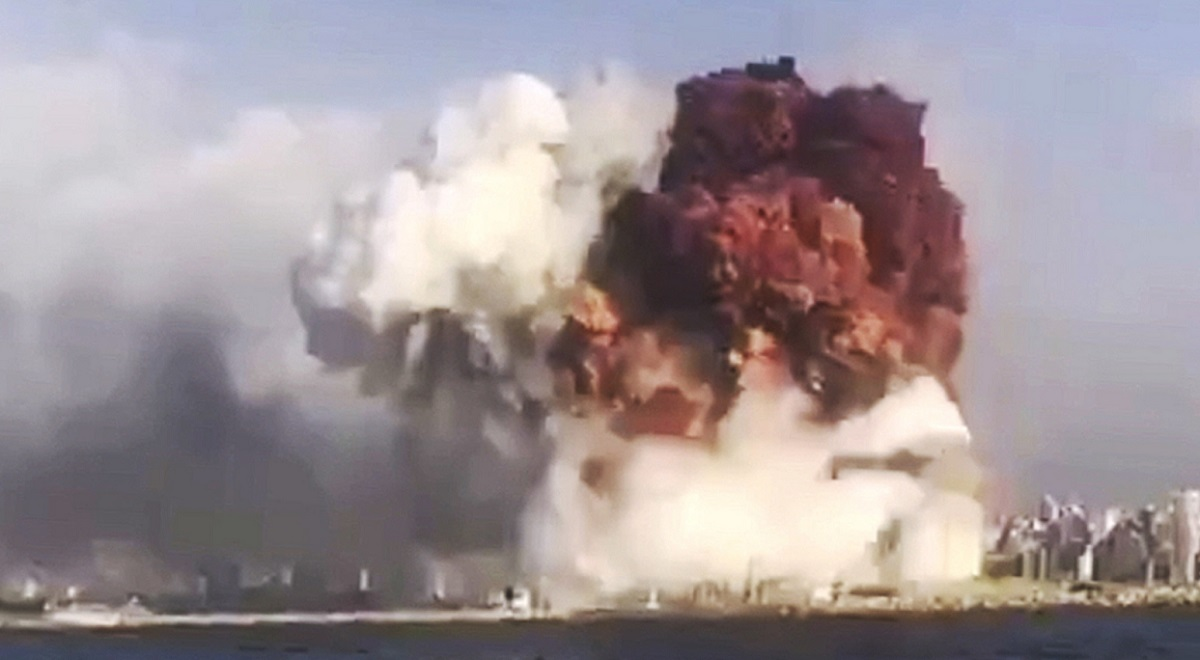 A still image grabbed from a mobile phone video and made available by a Twitter user showing the moment of the massive explosion that rocked the harbor area of Beirut, Lebanon, on Tuesday, August 4, 2020. PAP/EPA/@tayyaraoun1
