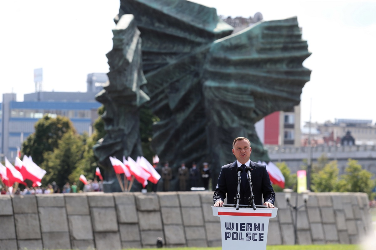 "President Andrzej Duda speaks during the ""Faithful to Poland"" military parade in the southern city of Katowice on Thursday."